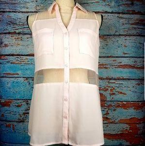 Express pink button up w/ mesh panel blouse sz S